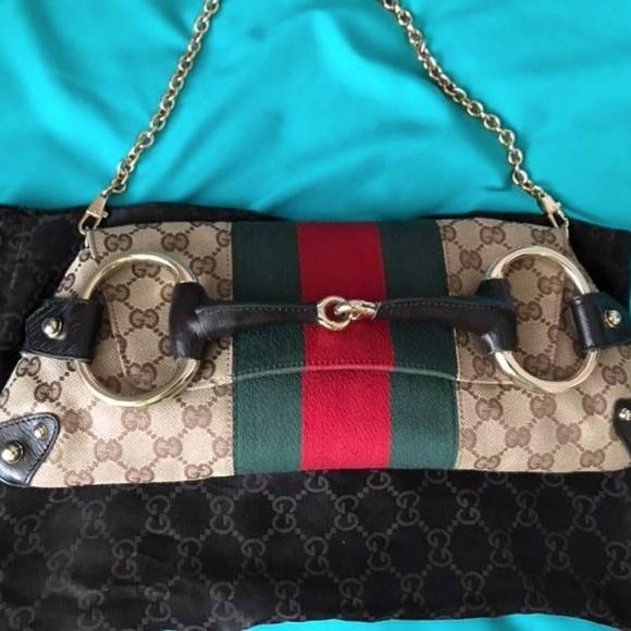 7020cde90c8 GUCCI Handbags - Gucci Tom Ford Horsebit Brown Monogram Canvas Bag